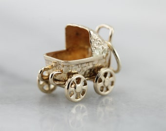 Baby Buggy Bumpers: Vintage Baby Carriage, Baby Shower Keepsake Charm  F04RYL-N