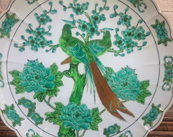 Large Ho Ho Bird Bowl Platter Otagiri Mercantile Co. OMC Japan Hou-ou Asian Decorative Decor Green and Gold