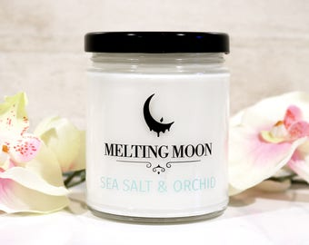 Sea Salt & Orchid Soy Candle, Mother's day gift, gifts for mom, flower candle, vegan candle, natural candle, gluten free candle