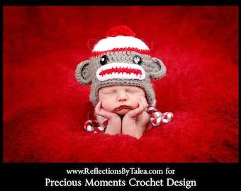 Newborn Sock Monkey Hat, Baby Sock Monkey Hat, Baby Boy Sock Monkey Hat, Newborn Photo Prop, Newborn Boy Hat, Newborn Girl Hat