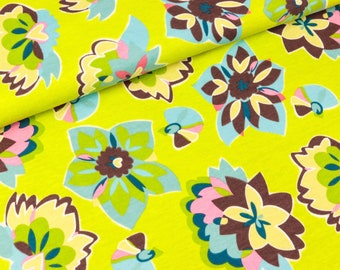 Cotton jersey Colorful flower circles on lime (12.90 EUR/meter)