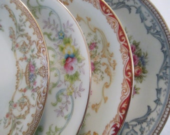 Vintage Mismatch China Saucers, Farmhouse, Wedding, Tea Plates, Cake Plates,  Bridal Shower, Shabby - Set of 4