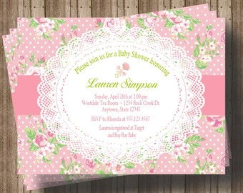 GIRL BABY SHOWER Invitation Shabby Chic Pink and Green Floral and Lace / Rustic Floral Baby Shower Invitation or Bridal Shower Invitation