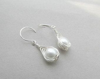Herringbone Pearl Dangle Earrings Wedding,Bridal, Wire Wrapped