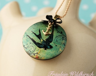 """""""Swallow Luck"""" Medallion Chain Swallow Anchor"""