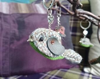 Harris Tweed Bird Keyring