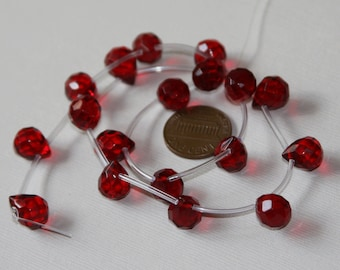 18 pcs of  Ruby Red color quartz glass faceted briolette beads 9x11mm