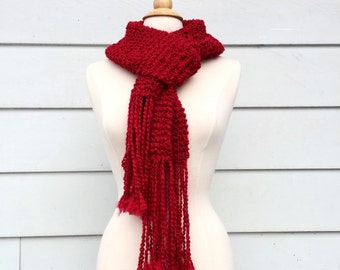 Ruby Red Scarf, Red Fringe Scarf, Long Red Scarf, Long Knit Scarf, Long Red Knit Scarf, Soft Red Scarf, Long Womens Scarf, Fall Scarf