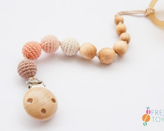 Peach&Mocha Pacifier Clip | Organic Cotton, Juniper Wood | Teething Clip | Dummy Chain | New Baby Gift | PC08