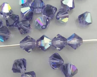 Swarovski 6mm Bicone Crystal Beads - TANZANITE AB, 10, 20 or 50