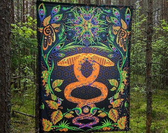 Fluorescent Tapestry Psychedelic Art Trippy Wall Art Visionary Tapestry UV Active Blacklight Poster Canvas Jungle Snake