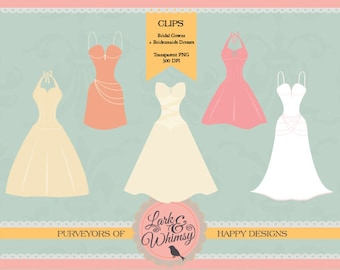 Wedding Dresses Clipart · Digital Scrapbook · Clip Art · Wedding · Bridal Gowns · Party · Personal & Commercial Use · Instant Download