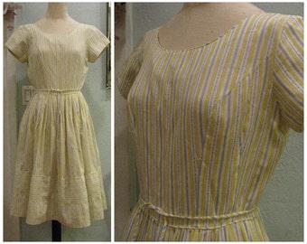 Vintage 50s dress, 50s dress, 50s cotton dress, 50s yellow dress, 50s striped dress, vintage day dress, striped day dress, june cleaver