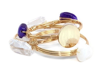 Purple Rain Engravable Wire Wrap Bracelet