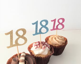Cupcake Number Toppers, 18th Birthday Numbers, Eighteenth, Set of 10 toppers, Party Decoration, Glitter Picks, Party Accessories Customised.