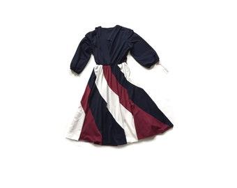 70s secretary dress, striped skirt, navy blue, semi sheer dress, midi dress, small