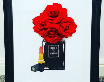 Chanel print with 3d flowers