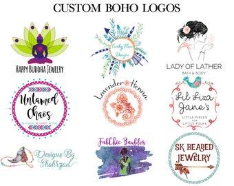 Boho Logo Design - Custom Logo Design - Custom Branding - Designer Logo - Vector Logo - Feminine Logo - Small Business Logo - Etsy Cover