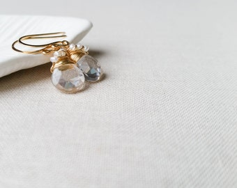 Freshwater Pearl Wrapped Quartz Drops - 14k Gold Fill Wire Wrapped Tiny Past, Present, Future Pearls on Clear Faceted Quartz Bridal Earrings