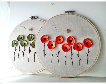 Embroidery wall hoop art - Poppy Flower Garden Orange poppy Green poppy