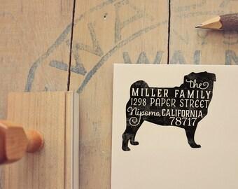 Pug Return Address Stamp, Housewarming & Dog Lover Gift, Personalized Rubber Stamp, Wood Handle