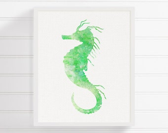 Green Seahorse Painting - Ocean Art - Sea Life Art - Nursery Wall Decor - Kids Room Decor - Seahorse Print, Seahorse Poster, Watercolor Art