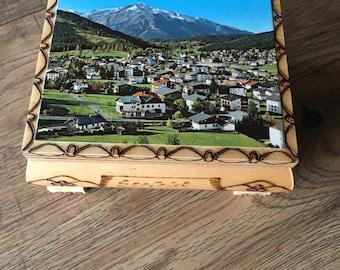 Vintage Reuge music box, Austria country scene,  Swiss Musical Movement jewel case, plays Die Perle Tirols