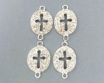 Silver Rhinestone Cross - Sideways Bracelet Link Jewelry Connector |S2-16|4 XH