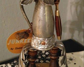 "JUNKEEZ ""Smokey the Piper found object art sculpture figurine statue wood and metal folk art doll"