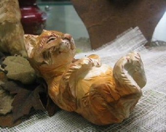 Sleeping cat- wood carving
