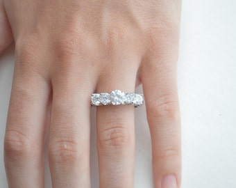CLEARANCE SALE: Multistone Engagement Ring - CZ Engagement Ring - Silver Promise Ring - Sterling Silver Ring