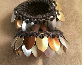Handmade Knitted Scale Maille Dragon Cuffs (pair)