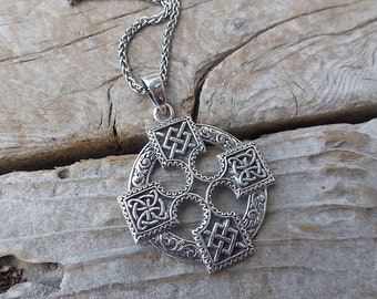 ON SALE Celtic cross necklace handmade in sterling silver 925