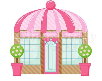 Pink Boutique Store Front Cute Digital Clipart, Cute Boutique Clip art, Shop Graphics, Boutique Illustration, #378