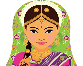 South Indian Wall Art Print featuring culturally traditional dress drawn in a Russian matryoshka nesting doll shape