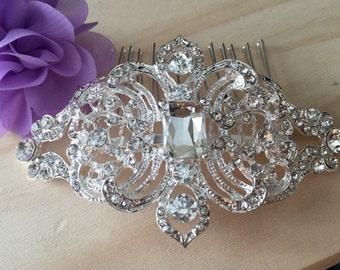Wedding Comb, Bridal Comb, Bridal Rhinestone Comb, Crystal Vintage Comb, Swarovski Comb, Bridal Crystal Comb, Bridal Hair Comb, Veil Comb
