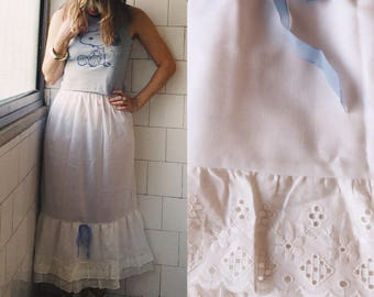 Vintage Prairie Skirt, Linton Half Slip, White with Eyelet Lace Hem and Blue Ribbon, Lingerie, Bridal, Petticoat, Festival, XS, S