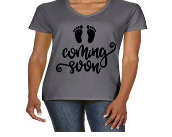 Coming Soon Baby Foot Print Pregnant Expecting Trendy Ladies V Neck T Shirt Holiday Christmas Shopping Black Friday  Jenuine Crafts