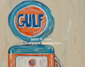 Gulf Gas Pump Art Print
