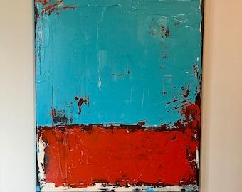 "Blue and Orange Abstract Painting 20"" x 24"" medium-sized Original Art Orange Blue Black Art Wall Decoration"