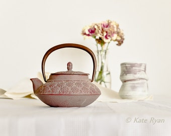 Tea Pot Photo, Dreamy Photo, Still life, Pastel Colors, Mauve, Pink, Cream, Asian Design, Wall Art for Home, Office Art, Kitchen, Restaurant