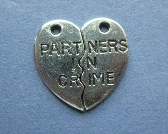 5 Sets Partners In Crime Charms - Partners In Crime Pendants - Best Friends - Antique Silver - 20mm x 11mm - (No.52-10327)