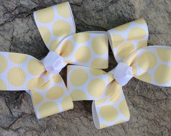 Yellow Polka Dot Hair Bows,Pigtail Hair Bows,Non Slip Hair Bows,3 Inches Wide,Alligator Clips,Birthday Party Favors