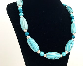 "18"" Shades of Teal necklace and bracelet set"