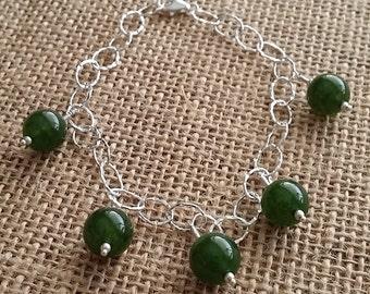 Sterling silver, Jade, charm, bracelet