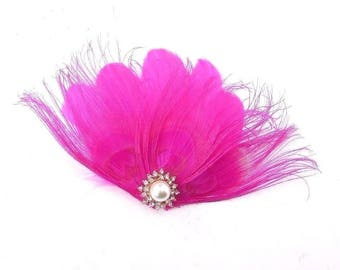 Hot Pink Silver Rose Gold Feather Fascinator Hair Clip Races 1920s Pearl 3921