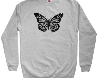 Monarch Butterfly Sweatshirt - Men S M L XL 2x 3x - Crewneck - Butterflies Sweatshirt, Vintage Sweatshirt, Wings Sweatshirt, Butterfly Art