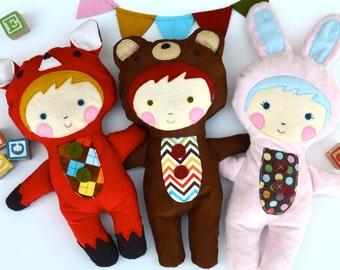 SALE- Plushie Pattern, Baby Toy Tutorial, Softie Pattern, Doll Pattern, stuffed animal PDF Sewing Pattern