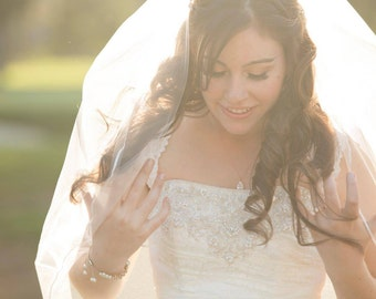 Fingertip Veil, Single Layer Veil with Thin Ribbon Edge, Wedding Veil, Ivory Veil, Simple Veil, Soft Veil