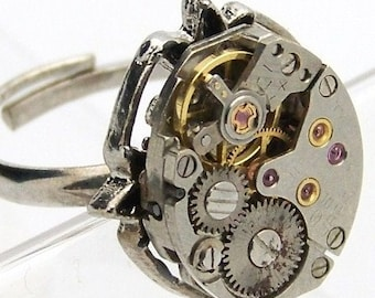 Petite Steampunk Ring Swiss Made 17 Jeweled Tiny Movement by TheSteamPunkTrunk